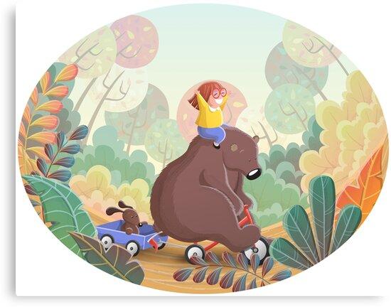 Cartoon bear on bike with little girl, children illustration by creaschon