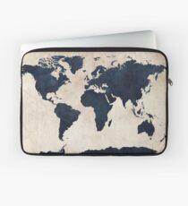 World Map Distressed Navy Laptop Sleeve