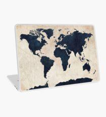 World Map Distressed Navy Laptop Skin