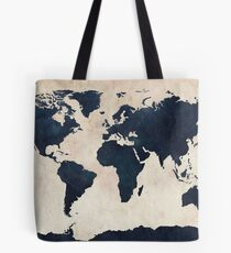 Weltkarte Distressed Navy Tote Bag