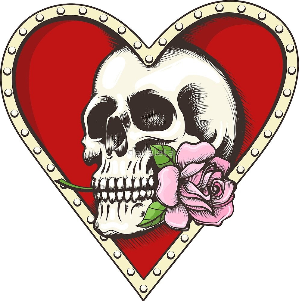 Skull with Rose in a Heart Shaped Hole by devaleta