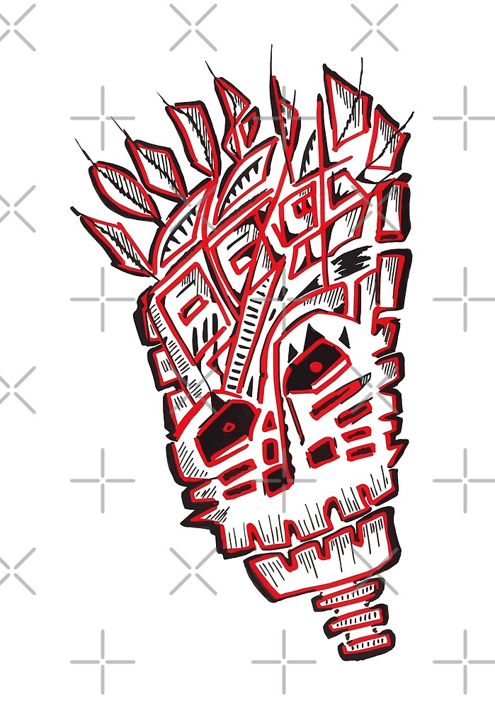 Red voodoo mask by zlajonja
