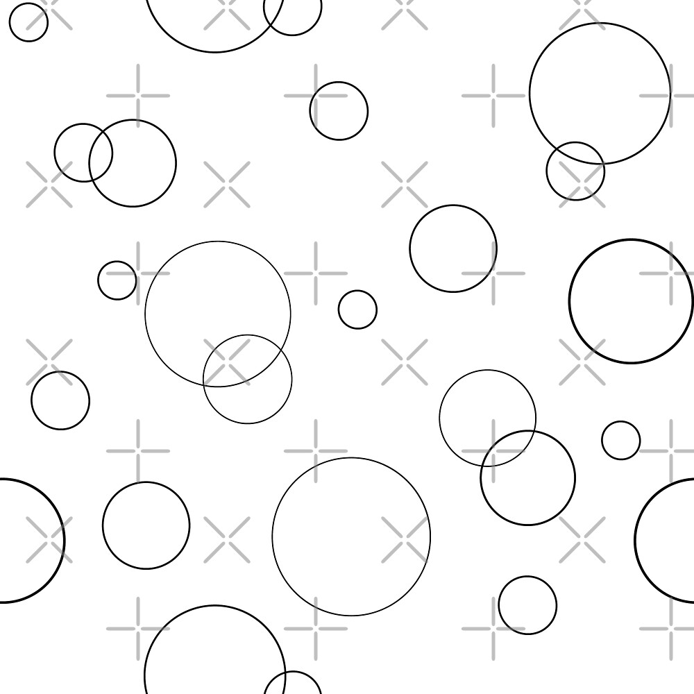 Seamless pattern texture. Geometric ornament with black full circles on white by asnia