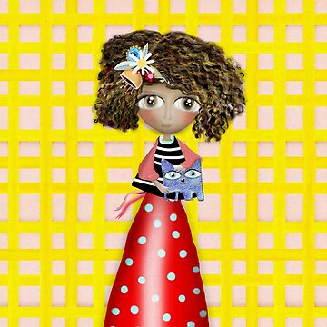 Art Doll - Kids Yellow Gingham - Cat Summer Friends by rupydetequila
