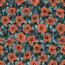 Autumn Flowers, Wool Painting, Grey and Orange by clipsocallipso