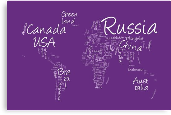 Writing text map of the world map canvas prints by michael tompsett writing text map of the world map by michael tompsett gumiabroncs Choice Image