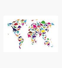 Dinosaur Map of the World Map Photographic Print