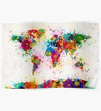 Weltkarte Paint Splashes Poster