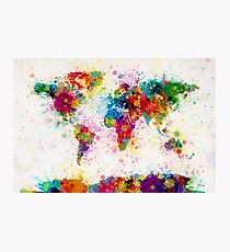 World Map Paint Splashes Photographic Print