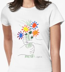 Pablo Picasso Bouquet Of Peace 1958 (Flowers Bouquet With Hands), T Shirt, Artwork Women's Fitted T-Shirt