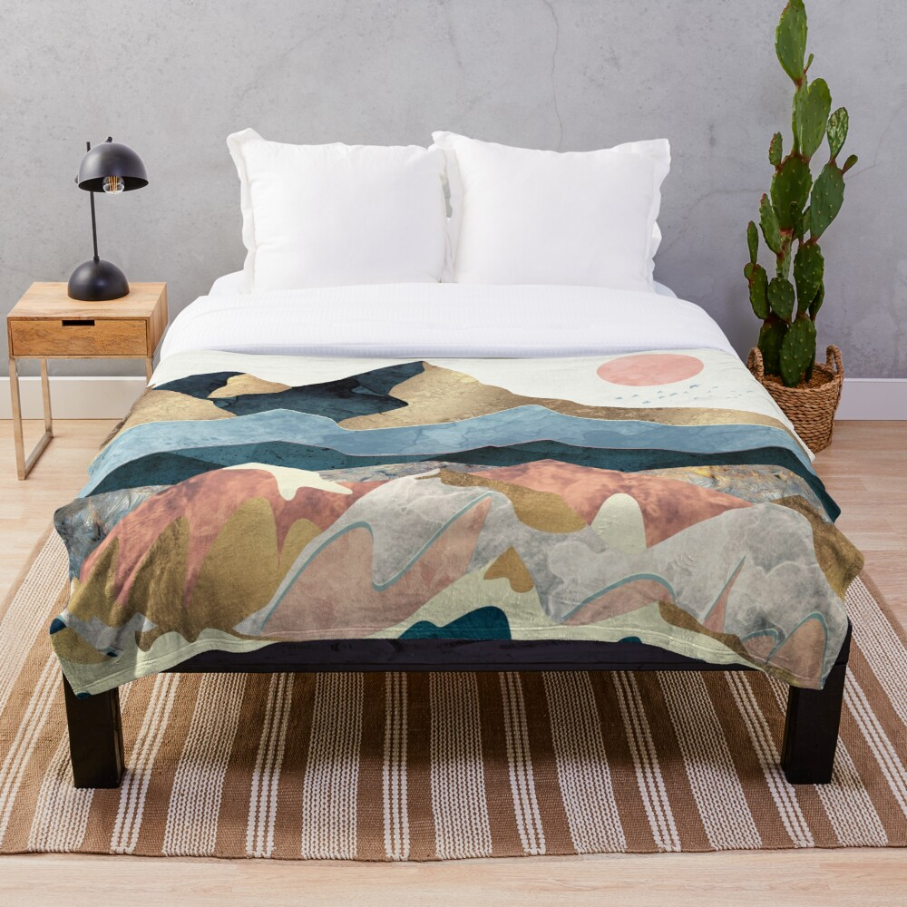 Golden Peaks Throw Blanket
