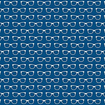 Blue and White Hipster Eyeglasses Pattern by whimseydesigns