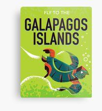 Galapagos Islands vintage travel poster art. Metal Print