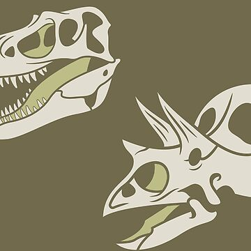 Gorgosaurus and Torosaurus: Olive Colorway by anatotitan