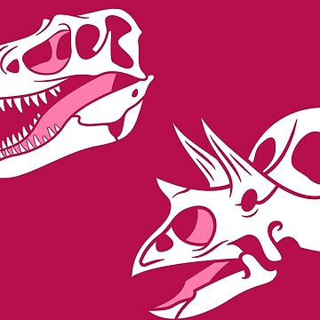 Gorgosaurus and Torosaurus Skulls: Dark Pink Colorway by anatotitan