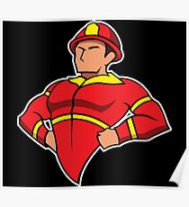 Super Hero Firefighters Red Line Fire Man Poster