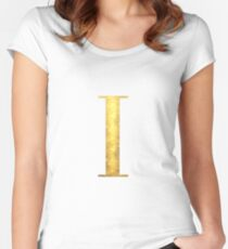 Letter I Gold Paint, Alphabet, Initial Fitted Scoop T-Shirt