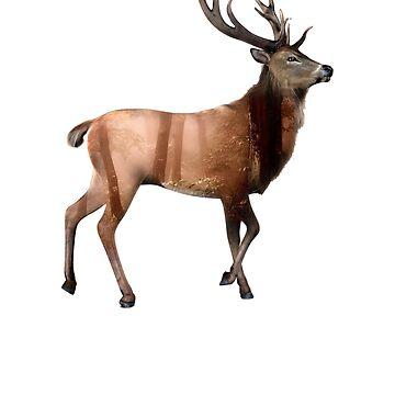 Wild Deer Buck Art Forest Animal Magical  T-Shirt by Ducky1000
