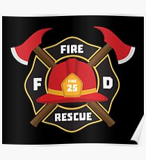Fire Department Kids Party Badge Firefighter Poster