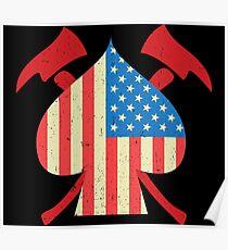 USA Firefighter Flag Axes Fire Department Poster