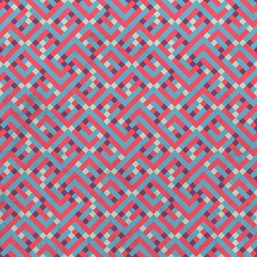 Geometric Labyrinth Red And Blue by tobiasfonseca