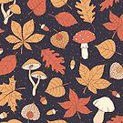 Autumn Pattern on Dark Blue by Anastasia Shemetova