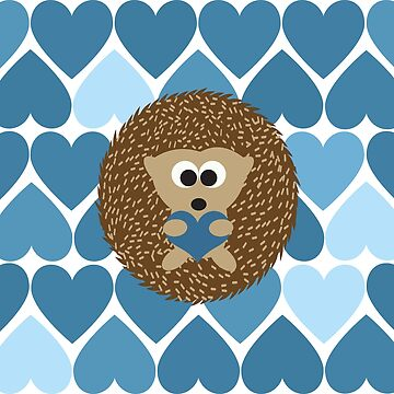 Cute Hedgehog and Blue Heart Pattern in the Background. by Eggtooth
