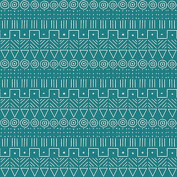 Mudcloth Style 1 in Turquoise and White by MelFischer