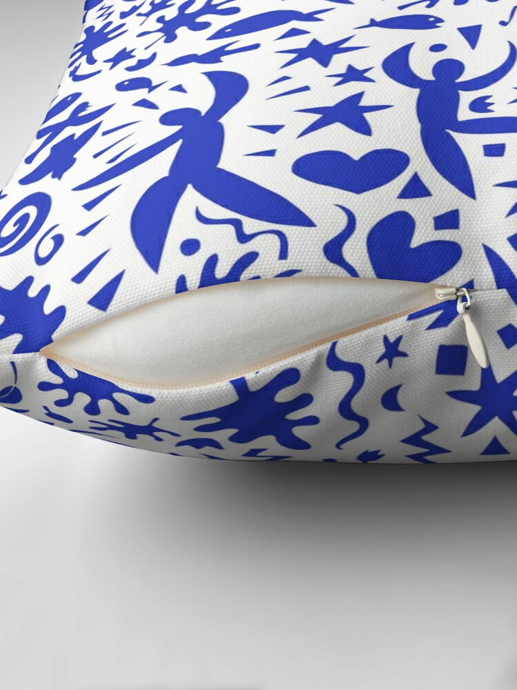 Alternate view of Cuban Salsa - blue on white - contemporary dance pattern by Cecca Designs Throw Pillow