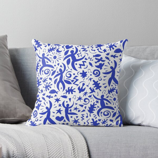 Cuban Salsa - blue on white - contemporary dance pattern by Cecca Designs Throw Pillow