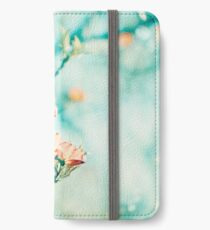 Teal Peach Coral Dogwood Flower Photography, Aqua Turquoise Teal Mint iPhone Wallet/Case/Skin