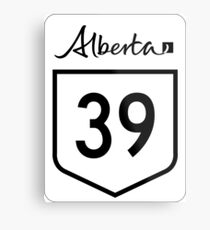 Alberta Highway 39 | Canada Highway Shield Sign Sticker Metal Print