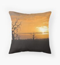 Farm Trees At Sunset  Throw Pillow