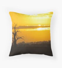 Farm Tree At Sunset  Throw Pillow
