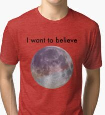 I Want to Believe: Pastel Full Moon Tri-blend T-Shirt