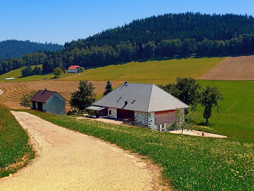 Hiking trail, farm house and scenery   landscape photography by Patrick Jobst