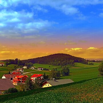 Small village skyline with sunset | landscape photography by patrickjobst