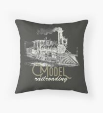 Trains Model Railroading: Vintage Locomotive Art Throw Pillow
