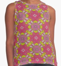 70s Neon Green Pink Abstract Floral Octagram Contrast Tank