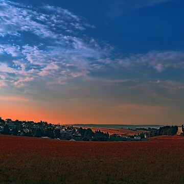 Small rural town skyline at sunrise II | landscape photography by patrickjobst