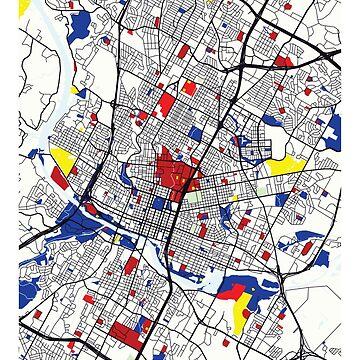Mapa de Austin (Estados Unidos) x Piet Mondrian de franciscouto