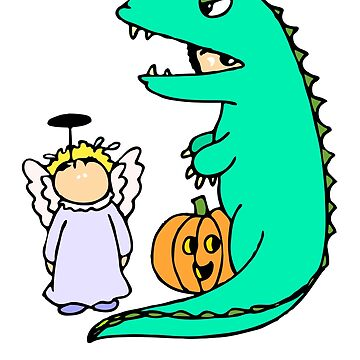 Kids Pumpkin Dinosaur Easy Halloween Costume Gift by cssdru