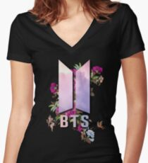 BTS NEW LOGO FLOWERS EDITION Women's Fitted V-Neck T-Shirt