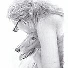 woman hugging collie drawing by Mike Theuer