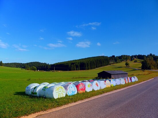 Hayballs along the road | landscape photography by Patrick Jobst