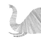 Elephant - White by Florent Bodart