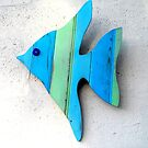 Green and Blue Striped Wood Angel Fish by Teresa Schultz