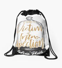 Sylvia Plath - Victim of introspection Drawstring Bag