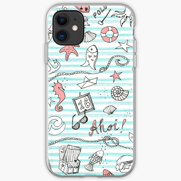 I love Sylt und das Meer mit blauen Streifen iPhone Flexible Hülle