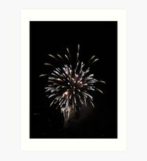 Flaming Fireworks Art Print